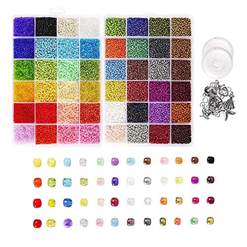 Harilla 1 caja de cuentas redondas de semillas con letras, dijes colgantes, anillos divididos, cuerdas elásticas para pulseras de bricolaje, collar,