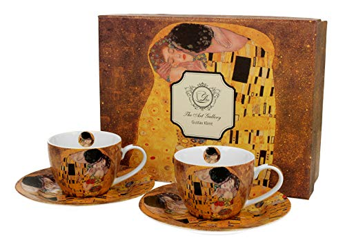 DUO Colección Art Gallery by Gustave Klimt The Kiss - Juego de 2 tazas de café con platillos de porcelana china de New Bone en caja de regalo, 110 ml