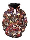 Yunbei Anime Megumin Cosplay 3D Printed Pullover Hoodie Sweatshirt Jacket Coat Costume (L, A)