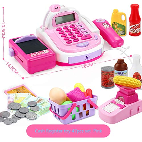 Best Buy! BJLWTQ 47Pcs Childrens Kids Cash Register Pretend Play Supermarket Shop Till Toys with Calculator,Working Scanner,Credit Card,Play Food,Money,Electronic Scale and More (Color : Pink)