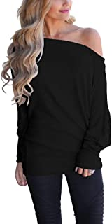 LACOZY Womens Off Shoulder Casual Oversized Long Sleeve Knit Pullover Sweater Tunic Tops Black 2X-Large