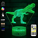 MH Zone T-REX 3D Night Light for Kids Night Lights Bedside Lamp 7 Colors with Timer & Remote Control & Smart Touch, The for Kids Girls Boys (T-rex 1)