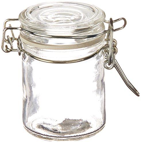 Mini bouteille en verre avec bouchon métallique.