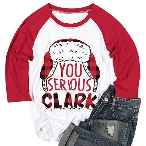 Women Cute Christmas T Shirt You Serious Clark Letters Print T-Shirt Raglan Sleeve Baseball Tees Top