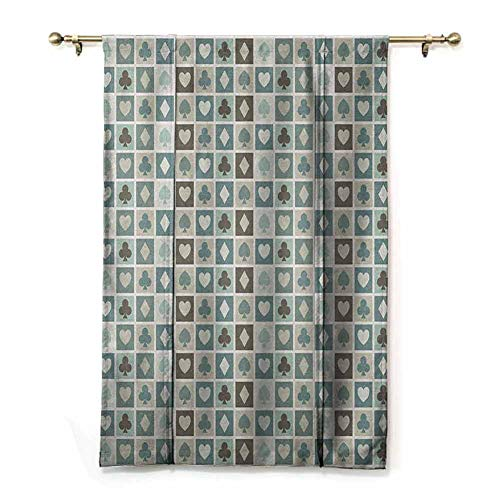 Tie Up Curtain Casino,Card Suits Hearts Spades Diamonds and Clubs Pattern Gaming Houses Addiction Print, Multicolor,35' x 64' for Kitchen Windows