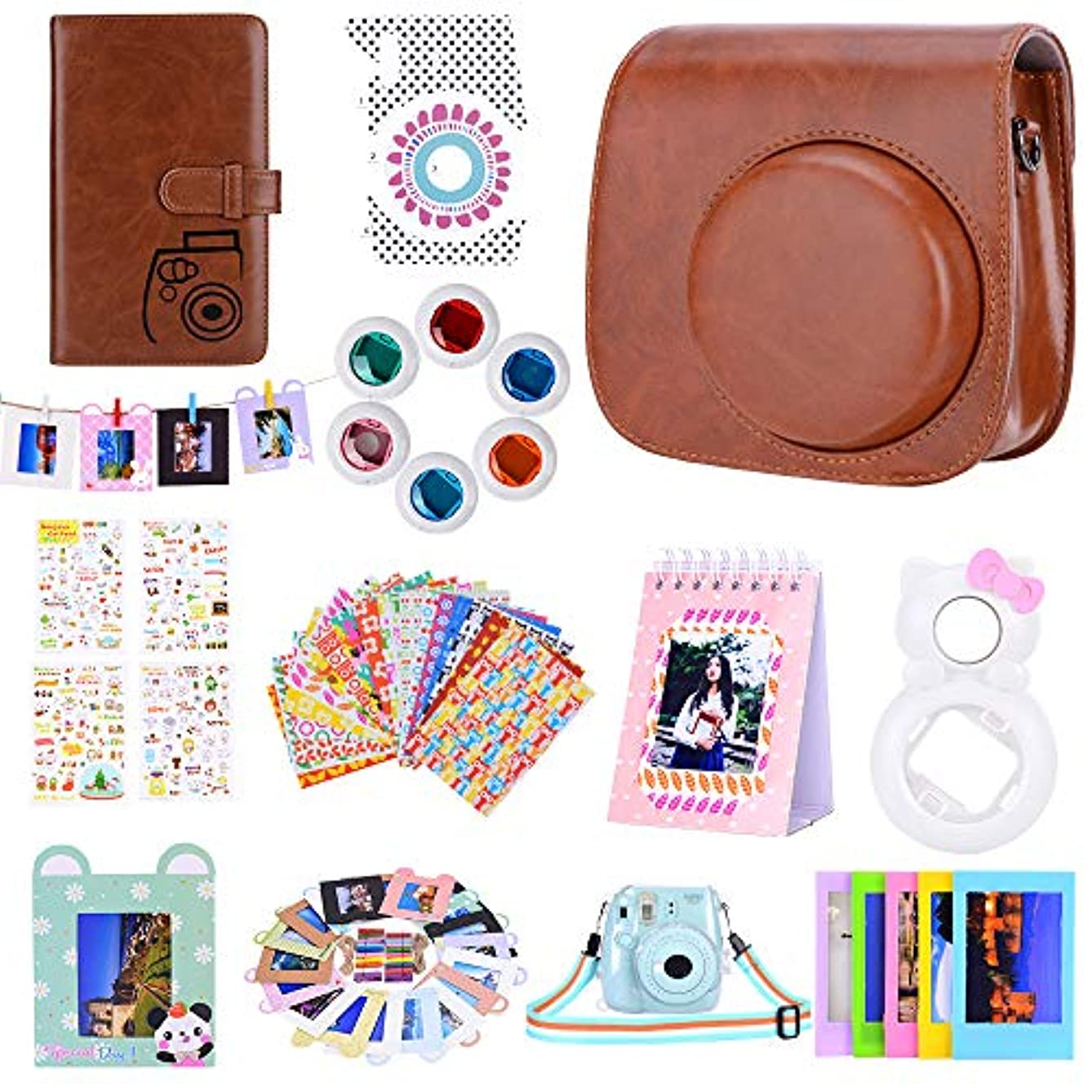 Bsuuy Instax Mini 9 Camera Accessories for FujiFilm Instax Mini 9 8 8+ Camera with Mini 9 Case/Album/Selfie Lens/Filters/Wall Hang Frames/Camera Sticker/Shoulder Strap (12 in 1 Brown)