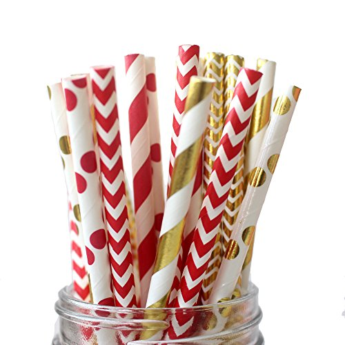 Gold and Red Paper Straws