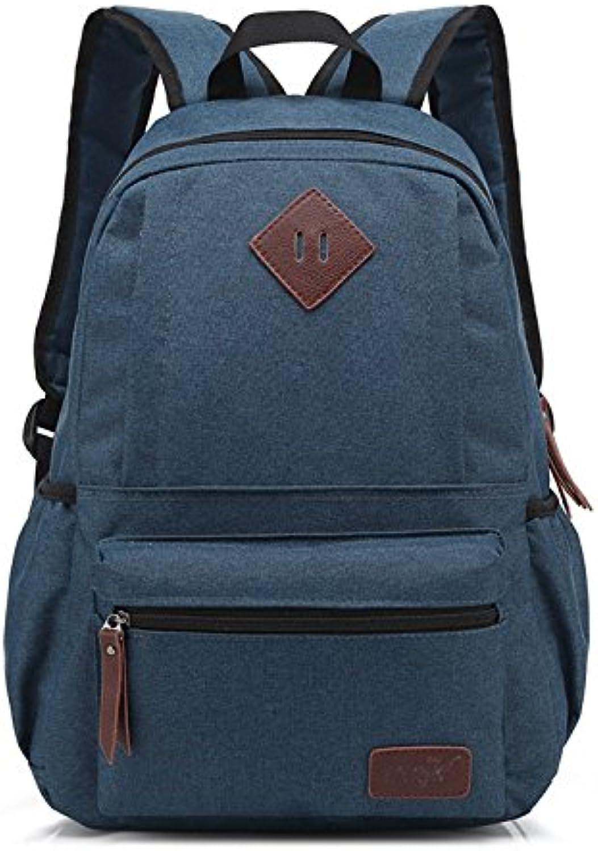 Korean Fashion Student Bag Neutral Solid Oxford Men and Women Backpack Shoulder Bag 29cm14cm43cm, Dark bluee