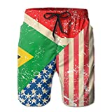 WowMyGod Short de Plage pour Homme Men's Dry Swim Trunks American South Africa Retro Flag Swim Beach Trunks for Outside Home with Pockets