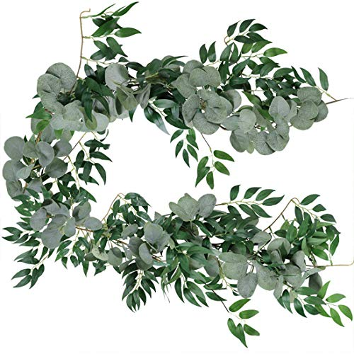 180cm/6Feet Artificial Eucalyptus Garland Blended Faux Silver Dollar Eucalyptus and Willow Vines Twigs Leaves Garland String Arch Swag Backdrop Garland for Wedding Home Decoration (Green)