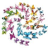 PGFUN 72 Stück 3D Schmetterling Aufkleber Fluoreszierende Wandtattoo Wanddeko Wandsticker für Wohnung Hause Wand Dekor Dekoration (12 Blau, 12 Farbe, 12 Grün, 12 Gelb, 12 Rosa, 12 Lila)