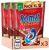Somat Excellence 4en1 Caps (93 unidades), detergente lavavajillas de disolución rápida, pastillas del lavavajillas en envase grande, limpieza y brillo radiantes
