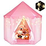 Princess Tent for Girls, ZUOSEN Large Castle Play Tent for kids with LED Star Lights Indoor and Outdoor Hexagon Playhouse Kids Toys, Foldable&Easy Carrying Children Gift for Games 55.5'x 53'(DxH) Pink