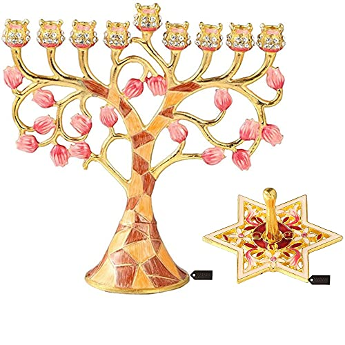 Matashi Hand-Painted Spinning Dreidel Holiday Ornaments & Pomegranate Design Enamel Menorah Candelabra (Pewter) with Gold Accents and Crystals Jewish Candle Holder Hanukkah Gift Jewish Decor