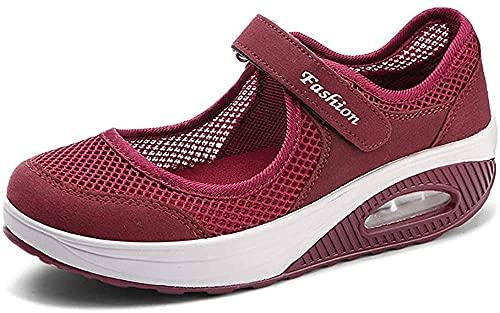 Sandalias para Mujer Malla Merceditas Plataforma Ligero Zapatillas Sneaker Mary Jane Casual Zapatos de Deporte Mocasines Verano Sneakers para Deportes Fitness Correr Trabajar