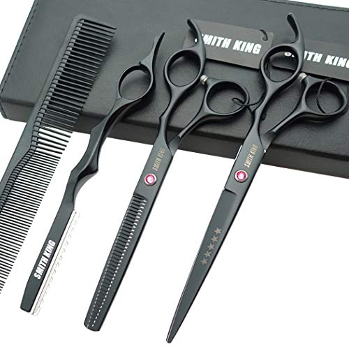 7.0 Inches Professional hair cutting thinning scissors set with razor (Black)