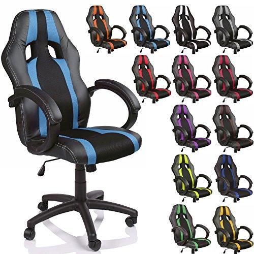 TRESKO Sedia da ufficio Poltrona ufficio Versione Racing, braccioli imbottiti, inclinazione (nero/azzurro)