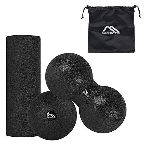 MSPORTS Faszienrolle | Faszienball - Professional Studio Qualität | Massagerolle Foamroller (Faszien-Set)