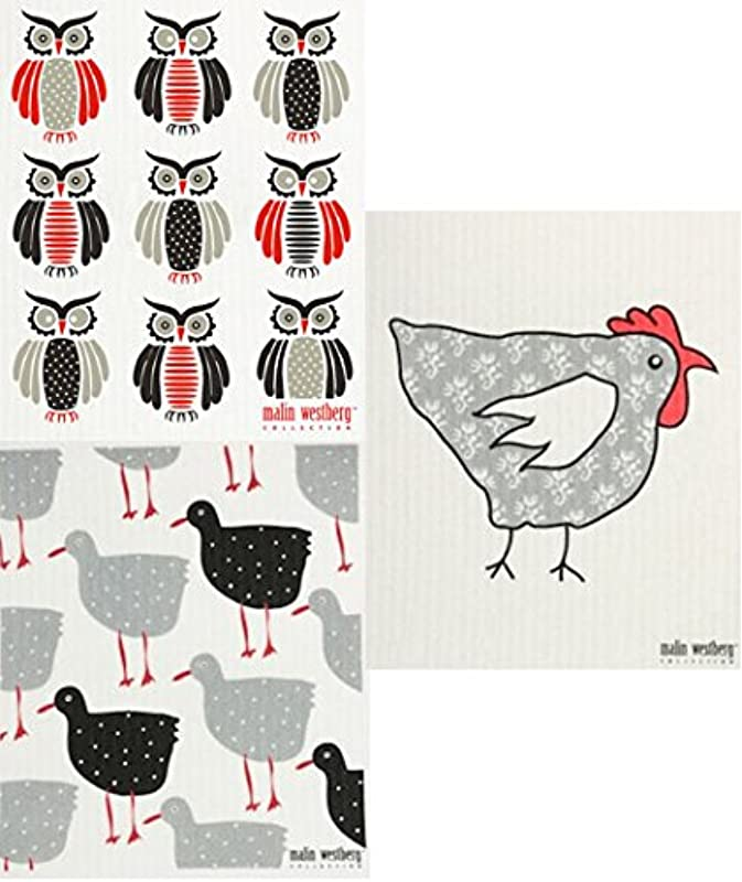 Trendy Tripper Swedish Dishcloth Sets Of 3 Ip Different Chickens Hens Birds Designs