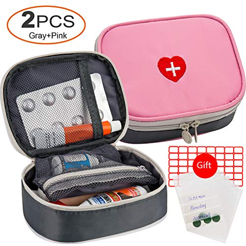 2pcs Portable Mini First Aid Kit, Multifunction Travel Medicine Storage Bag Emergency Kit for Outdoor Sports Home Office Camping Hiking Cycling - Just Empty First Aid Bag (Pink and Gray)