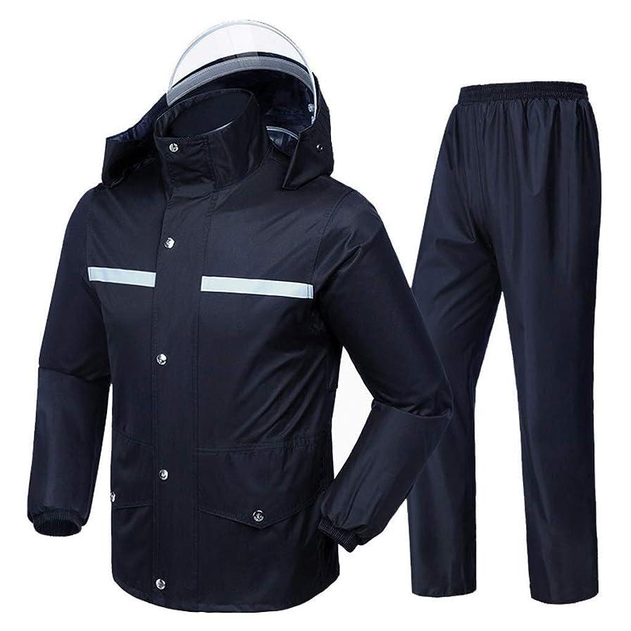 とげ苦い汚れるH.ZHOU 防水 レインコートメンズレインコートスーツ防水ジャケットとズボンのセットのフード付きレインウェアアウトドア作品 ユニセックス (Size : Large)