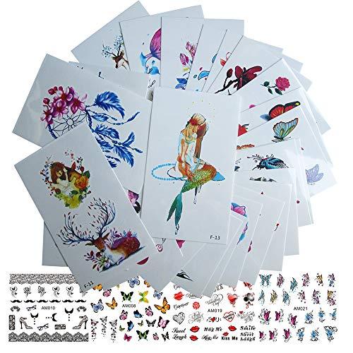 30 Sheet Women Body Art Temporary tattoos Stickers Kit, Flower Animal Butterfly Feather Fake False Tattoos for Arm Legs Back Kids 4 Sheet Nail Art Sticker Decal Decorations (AABB015F)