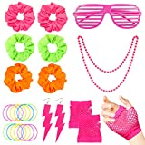 WATINC 24Pcs 80er Jahre Retro Kostüme Neon Outfit Zubehör Haargummis Haare Pink Shutter Brille...