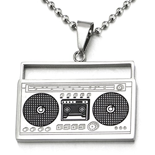 COOLSTEELANDBEYOND Steel Silver Black Cassette Player Pendant Necklace for Men Women with 30 inch Ball Chain