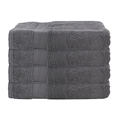 FreshFromLoom Premium Quality Ring Spun Cotton Towels Set, Super Soft, Plush, Machine Washable and Highly Absorbent, Set of 4 Bath Towels, 27 X 54 Inch, Grey