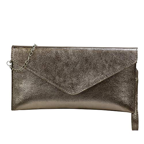 SH Leder Echtleder Clutch Umhängetasche kleine Tasche Abendtasche in Wildleder oder Metallic 31,5x16,5cm Palma G299 (Bronze)