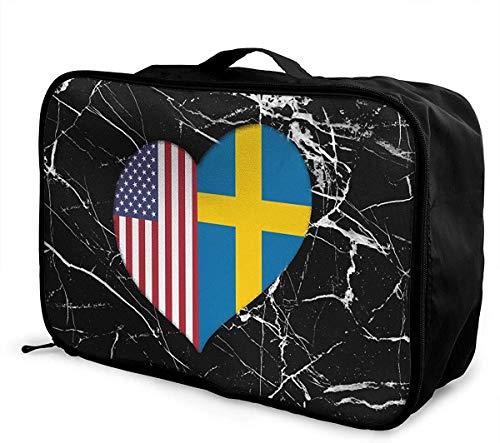 Bolsa de Viaje Grande con diseño de corazón de la Bandera Estadounidense Americana