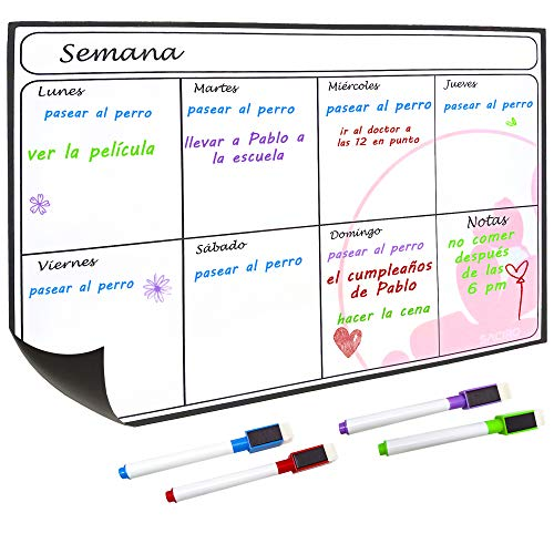 Saciro - Planificador semanal magnético para Nevera en español – Útil como Calendario magnético, Pizarra Blanca, menú, recordatorio. Soft Magnet.