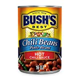 BUSH'S BEST Canned Pinto Beans in a Hot Chili Sauce (Pack of 12), Source of Plant Based Protein and Fiber, Low Fat, Gluten Free, 16 oz