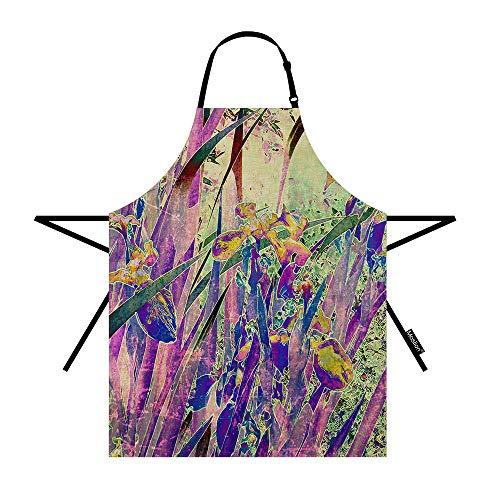 Moslion Floral Apron 31x27 Inch Vintage Art Nature Irises Flower Leaves Kitchen Chef Waitress Cook Aprons Bib with Adjustable Neck for Women Men Girls Purple Green