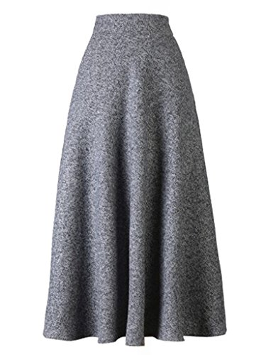 Choies Women's High Waist A-line Flared Long Skirt Midi Casual Skirt XL Gray