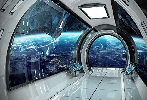 YEELE 7x5ft Spaceship Interior Backdrop Space Capsule Control Center Photography Background Sci-fi Event Alien Galactic Travel Birthday Kids Adults Artistic Portrait Photoshoot Props Wallpaper