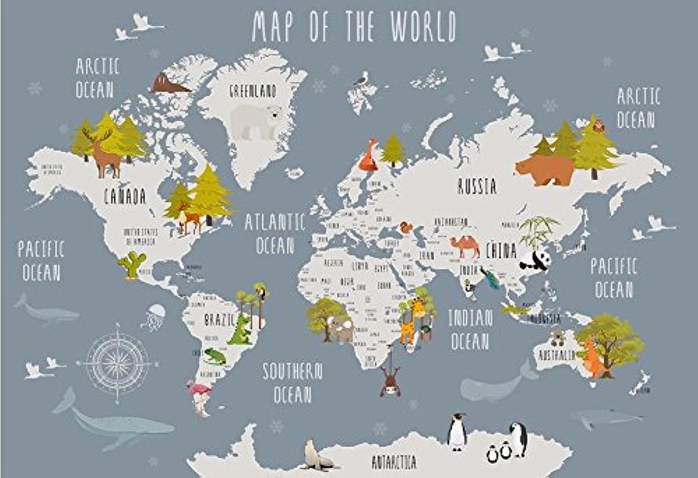 WH-PORP Benutzerdefinierte 3D Tapete Cartoon Weltkarte Kinder Zimmer 3D Hintergrund Wand-250cmX175cm