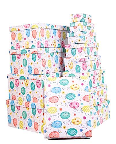 Mediablue Aufbewahrungsboxen Schachteln Geschenkbox im 13er Set mit Deckel Verschiedene Designs (Ballon)