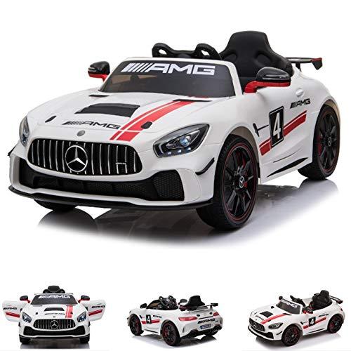 ES-TOYS Coche eléctrico niños Mercedes AMG GT4 EVA Asiento Cuero Mando Distancia