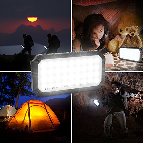 Solar Charger 25000mAh, High Capacity Power Bank Dual Quick Charge USB Ports Phone Charger with 36 LEDs Bright Flashlight for Outdoor Activities Compatible with Smartphones
