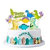Decoración de tartas dinosaurio cumpleañero, adorno de tartas dino cupcakes tapón de tarta tapón de tartas juego de palillos de dientes para 1.2.3.4.5.6.7.8.9 años bebé niños decoración de fiesta