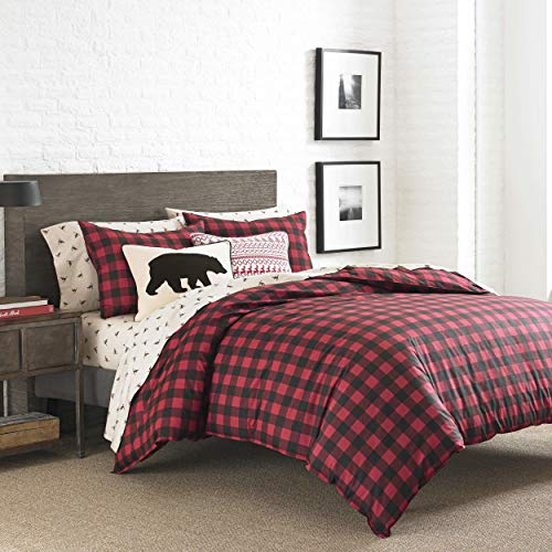 Eddie Bauer Home | Mountain Collection 100% Cotton Classic Cabin Plaid Pattern Duvet Cover Matching Shams, 3-Piece Bedding Set, King, Scarlet Red