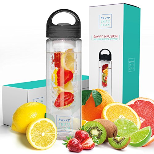 Savvy Infusion Water Bottles - Fruit Infuser Bottle with Unique Leak Proof Silicone Sealed Cap...