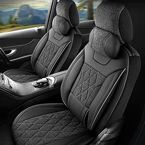 Fundas de asiento de coche de piel sintética para Opel Astra, color negro y gris, juego completo para asientos delanteros y traseros de 5 asientos con airbag compatibles, accesorios para el interior