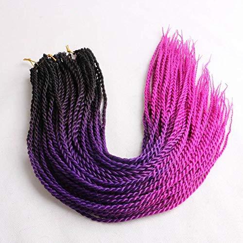 LINL 24 Pulgadas de la Sombra de Senegal torcedura Trenzado del Pelo de Gancho 24 Roots/Pack Trenzado de plástico para Las Mujeres Gris Rosa,Negro Rosa púrpura