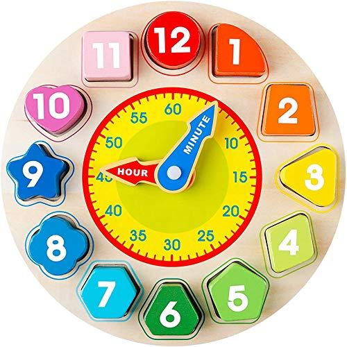NFGHK Reloj de clasificación de forma de madera, juguetes educativos con números y formas para niños preescolares, enseña a tu hijo a decir la hora (multicolor)