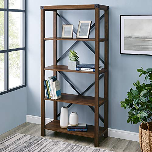 Walker Edison Modern Farmhouse Wood Bookcase Bookshelf Home Office Living Room Storage, 64 Inch, Dark Walnut