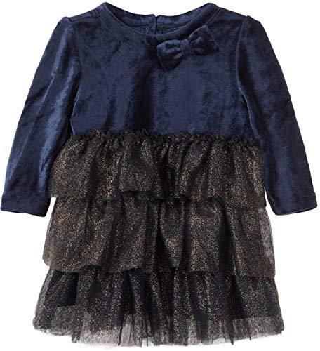 Name It - Robe - sans Motif - Manches Longues - Bébé (Fille) 0 à 24 Mois - Bleu - 6 Mois