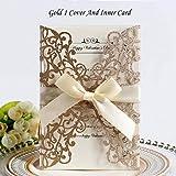 ERFHJ 50 Piezas Azul Oro Plata Brillo Papel Corte láser invitación de Boda sobre Cinta imprimible Personalizada decoración de la Boda, Oro 1 Cubierta Insertar