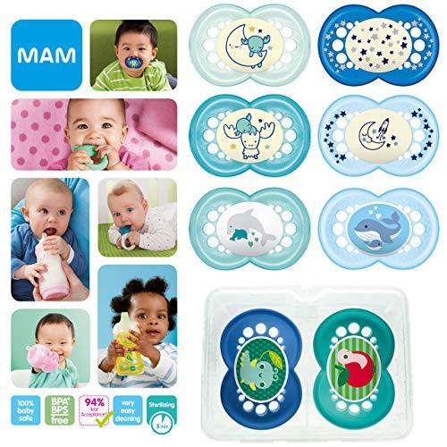 MAM Day & Night Soothing Set, juego de regalos para bebés de +6 meses juego de 8 chupetes 2 para la noche que se iluminan y 6 para el día